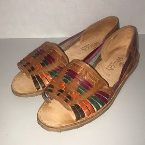 Sbicca Jared Multi Color Woven Leather Sandals 10